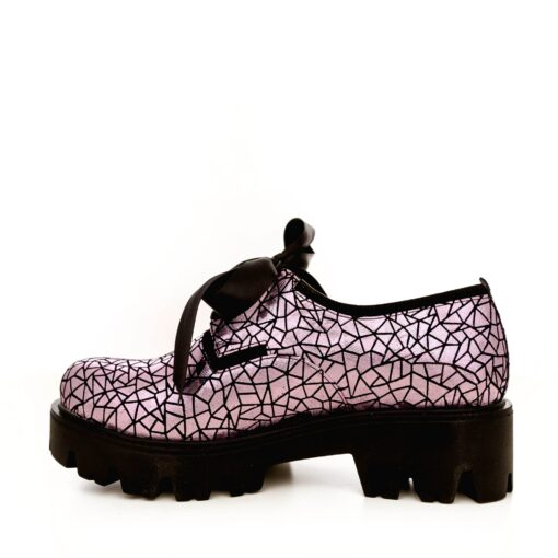 Pantofi dama din piele naturala 701 sparkling lila