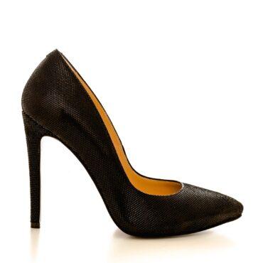 Pantofi stiletto din piele naturala 1521 negru puntine