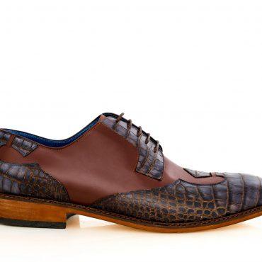 Pantofi derby 4210 bleumarin cu maro