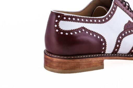 Pantofi oxford 15171 maro cu alb