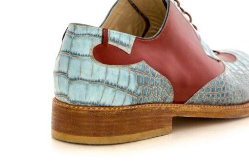 Pantofi derby 4210 print blue cu maro