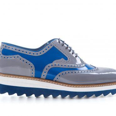 Pantofi oxford 066 gri cu albastru