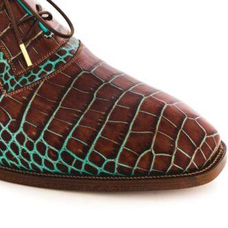 Pantofi oxford 042 croco maro
