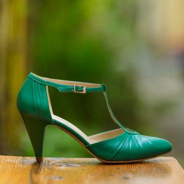 Pantofi dama din piele naturala 1008 verde