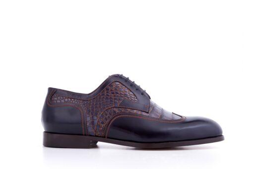 Pantofi derby 2964 print croco
