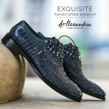Pantofi oxford 427 croco blue